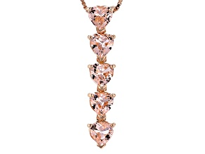 Morganite Simulant 18k Rose Gold Over Sterling Silver Pendant With Chain 2.55ctw