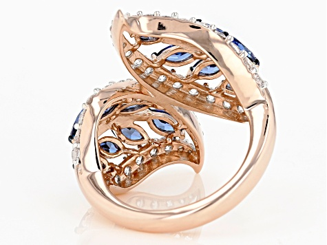 Blue and White cubic Zirconia 18k Rose Gold Over Sterling Silver Ring 5.08ctw