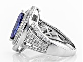 blue and white cubic zirconia rhodium over sterling silver ring 3.55ctw