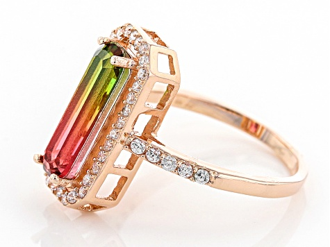 watermelon tourmaline simulant And White Cubic Zirconia 18k RG Over Sterling Silver Ring 4.91ctw