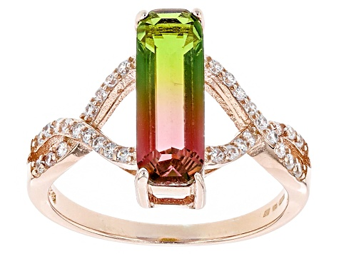Watermelon Tourmaline Simulant and White Cubic Zirconia 18k Rose Gold over Silver Ring