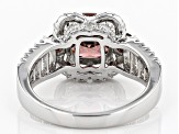 Pink & White Cubic Zirconia Rhodium Over Sterling Silver Ring 5.09ctw