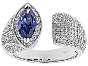 Blue & White Cubic Zirconia Rhodium Over Sterling Silver Ring 3.39ctw