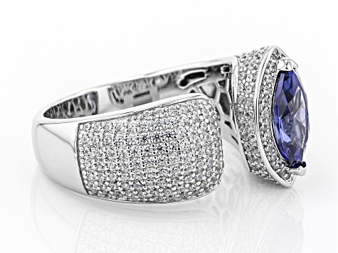 Melissa's Blue & White Cubic Zirconia Rhodium Over Sterling Silver Ring 3.39ctw