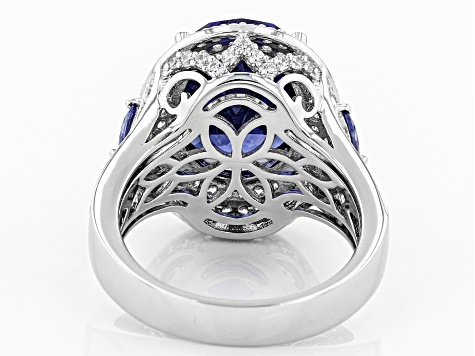 Blue & White Cubic Zirconia Rhodium Over Sterling Silver Ring 11.36ctw