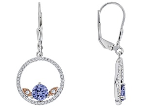 Blue & White Cubic Zirconia Rhodium Over Sterling Silver Earrings 2.22ctw