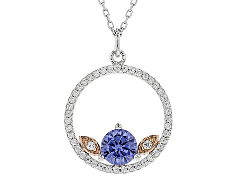 Blue & White Cubic Zirconia Rhodium Over Sterling Silver Pendant W/ Chain