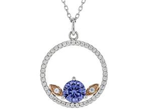 Blue & White Cubic Zirconia Rhodium Over Sterling Silver Pendant W/ Chain