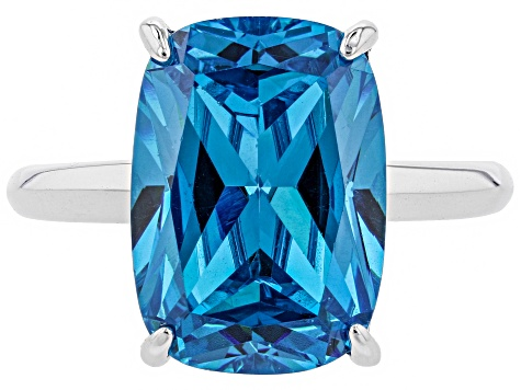Blue Cubic Zirconia Rhodium Over Sterling Silver Ring 13.95ctw