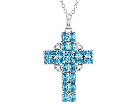 Blue Cubic Zirconia Rhodium Over Silver Cross Pendant With Chain 5.49ctw