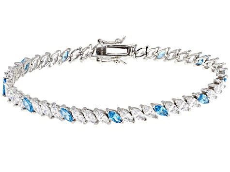 Blue and White Cubic Zirconia Rhodium Over Sterling Silver Bracelet 18.63ctw