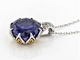 Blue & White Cubic Zirconia Rhodium & 18k Yellow Gold Over Silver Pendant With Chain 8.76ctw