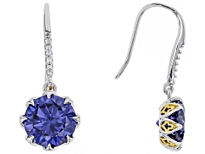 Blue & White Cubic Zirconia Rhodium & 18k Yellow Gold Over Silver Earrings 9.16ctw