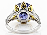 Blue & White Cubic Zirconia Rhodium & 18k Yellow Gold Over Silver Ring 8.98ctw