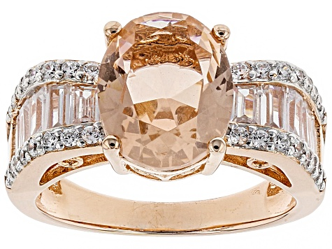 Morganite Simulant & White Cubic Zirconia 18k Rose Gold Over Sterling Silver Ring 5.07ctw