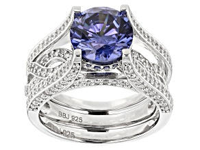 Lab Created Blue Sapphire,Blue&White Cubic Zirconia Rhodium Over Silver Center Design Ring With Band