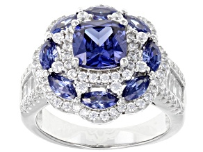 Blue & White Cubic Zirconia Rhodium Over Sterling Silver Ring 5.86ctw
