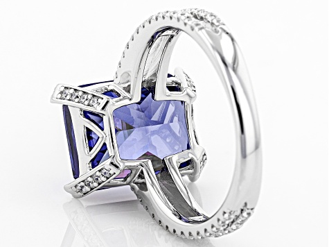 Blue & White Cubic Zirconia Rhodium Over Sterling Silver Center Design Ring 12.38ctw