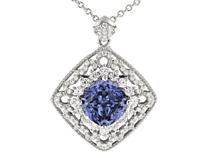 Blue & White Cubic Zirconia Rhodium Over Sterling Silver Pendant With Chain 6.98ctw