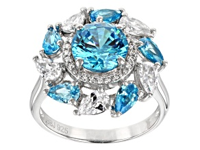 Blue & White Cubic Zirconia Rhodium Over Sterling Silver Center Design Ring 6.91ctw