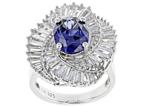 Blue & White Cubic Zirconia Rhodium Over Sterling Silver Center Design Ring 7.91ctw