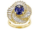 Blue & White Cubic Zirconia 18k Yellow Gold Over Sterling Silver Center Design Ring 7.91ctw
