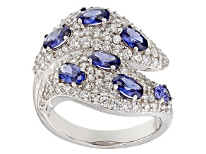 Blue & White Cubic Zirconia Rhodium Over Sterling Silver Ring 4.85ctw