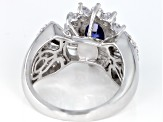 Blue & White Cubic Zirconia Rhodium Over Sterling Silver Center Design Ring 4.30ctw
