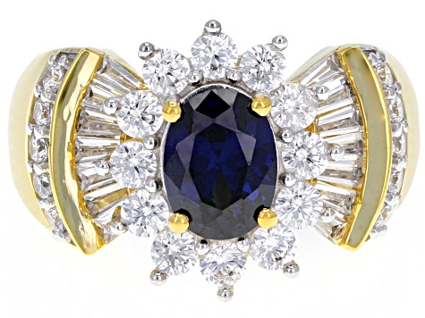 Blue & White Cubic Zirconia 18K Yellow Gold Over Sterling Silver Center Design Ring 4.06ctw
