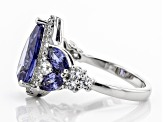 Blue & White Cubic Zirconia Rhodium Over Sterling Silver Center Design Ring 6.26ctw