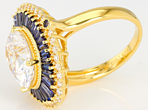 Lab Created Sapphire, White, & Blue Cubic Zirconia 18K Yellow Gold Over Sterling Silver Ring