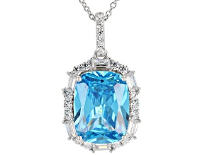 Blue & White Cubic Zirconia Rhodium Over Sterling Silver Pendant With Chain 18.58ctw