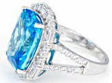 Blue & White Cubic Zirconia Rhodium Over Sterling Silver Center Design Ring 19.56ctw