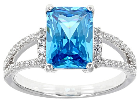 Blue & White Cubic Zirconia Rhodium Over Sterling Silver Ring 5.14ctw
