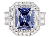 Blue And White Cubic Zirconia Rhodium Over Sterling Silver Ring 10.22CTW