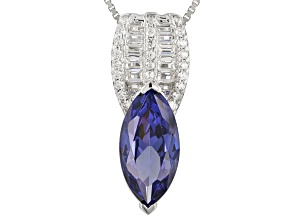 Blue & White Cubic Zirconia Rhodium Over Sterling Silver Pendant With Chain 5.36ctw