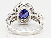 Blue & White Cubic Zirconia Rhodium Over Sterling Silver Center Design Ring 7.28ctw