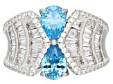 Blue & White Cubic Zirconia Rhodium Over Sterling Silver Ring 5.44ctw