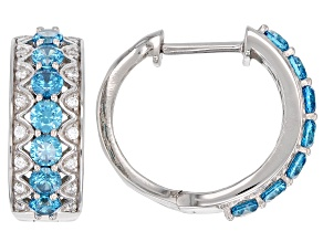 Blue & White Cubic Zirconia Rhodium Over Sterling Silver Hoop Earrings 3.79ctw