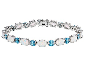 Lab Created Opal & Blue Cubic Zirconia Rhodium Over Sterling Silver Bracelet 9.63ctw