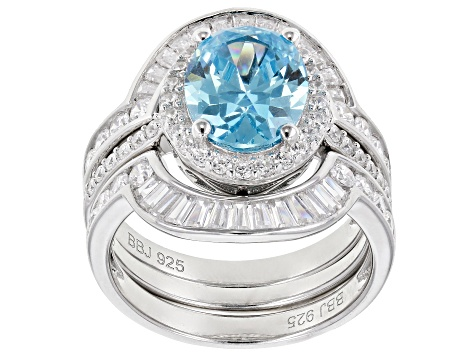 Blue & White Cubic Zirconia Rhodium Over Sterling Silver Ring With Bands 6.90ctw