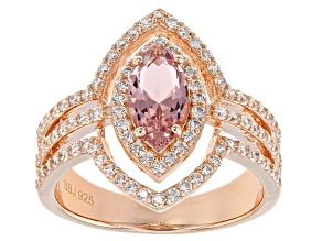 Morganite Simulant & White Cubic Zirconia 18K Rose Gold Over Sterling Silver Ring 2.16ctw