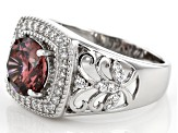 Blush Zircon Simulant & White Cubic Zirconia Rhodium Over Sterling Silver Ring