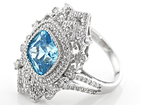 Blue & White Cubic Zirconia Rhodium Over Sterling Silver Ring 6.74ctw