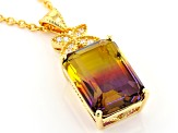 Bi-Color And White Cubic Zirconia 18K Yellow Gold Over Sterling Silver Pendant With Chain 5.39CTW
