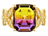 Bi-Color And White Cubic Zirconia 18K Yellow Gold Over Silver Ring 4.82CTW