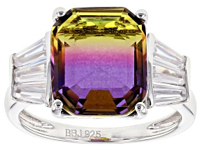 Bi-Color And White Cubic Zirconia Rhodium Over Sterling Silver Ring 5.75CTW