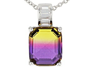 Bi-Color And White Diamond Simulants Rhodium Over Sterling Silver Pendant With Chain 4.88CTW