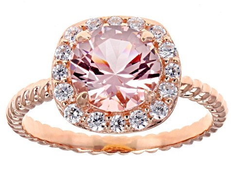 Morganite Simulant & White Cubic Zirconia 18K Rose Gold Over Silver Center Design Ring 2.38ctw