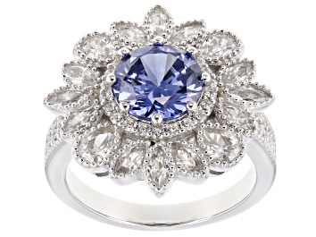 Picture of Blue & White Cubic Zirconia Rhodium Over Sterling Silver Center Design Ring 6.48ctw